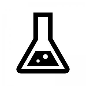 三角のフラスコの白黒シルエットイラスト02