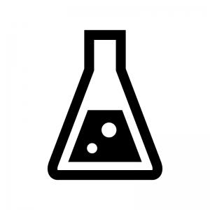 三角フラスコの白黒シルエットイラスト04