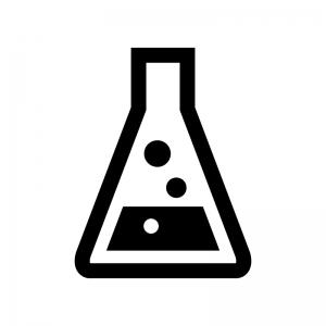 三角フラスコの白黒シルエットイラスト05