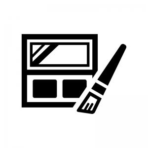 ファンデーションとメイクブラシの白黒シルエットイラスト02