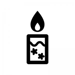 アロマキャンドルの白黒シルエットイラスト03