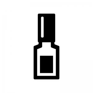 ネイルポリッシュの白黒シルエットイラスト