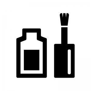 ネイルポリッシュの白黒シルエットイラスト02