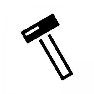 トンカチの白黒シルエットイラスト