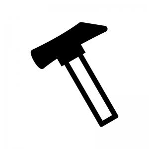 トンカチの白黒シルエットイラスト02