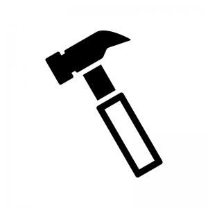 トンカチの白黒シルエットイラスト03