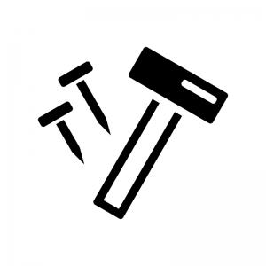 トンカチと釘の白黒シルエットイラスト