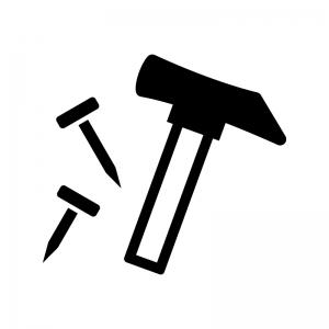 トンカチと釘の白黒シルエットイラスト02