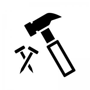 トンカチと釘の白黒シルエットイラスト03