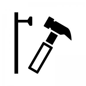 トンカチで釘を打つ白黒シルエットイラスト02