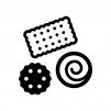 クッキー・ビスケットの白黒シルエットイラスト02