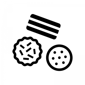 クッキー・ビスケットの白黒シルエットイラスト05