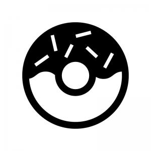 ドーナツの白黒シルエットイラスト04