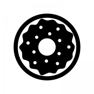 チョコレートドーナツの白黒シルエットイラスト03