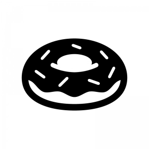 チョコレートドーナツの白黒シルエットイラスト06