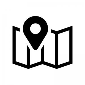 地図とマーカーピンの白黒シルエットイラスト