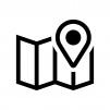 地図とマーカーピンの白黒シルエットイラスト02