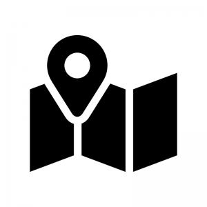 地図とマーカーピンの白黒シルエットイラスト03