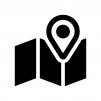 地図とマーカーピンの白黒シルエットイラスト04