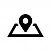 地図マーカーの白黒シルエットイラスト04
