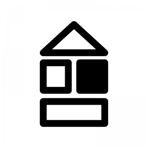 積み木の白黒シルエットイラスト