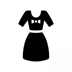 半袖のワンピースの白黒シルエットイラスト