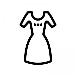 半袖のワンピースの白黒シルエットイラスト02