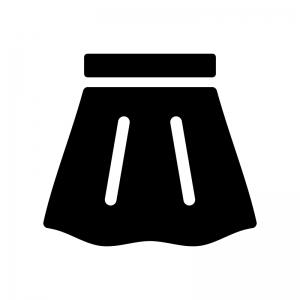 スカートの白黒シルエットイラスト
