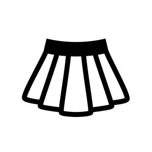 プリーツスカートの白黒シルエットイラスト