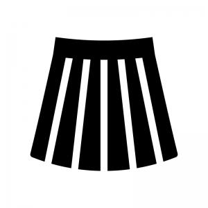 プリーツスカートの白黒シルエットイラスト02