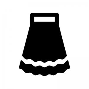 ロングスカートの白黒シルエットイラスト