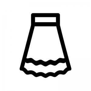 ロングスカートの白黒シルエットイラスト02