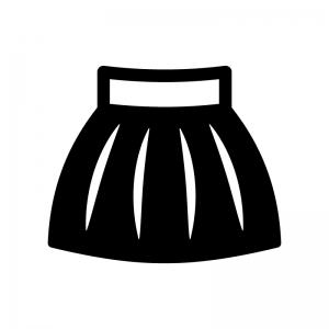 フレアスカートの白黒シルエットイラスト
