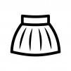 フレアスカートの白黒シルエットイラスト02