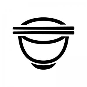 お茶碗とお箸の白黒シルエットイラスト04