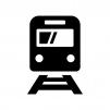 電車の白黒シルエットイラスト02