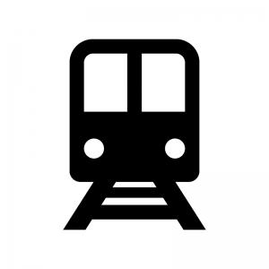 電車の白黒シルエットイラスト03