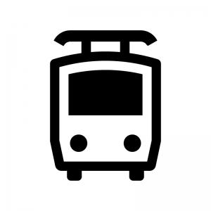 電車の白黒シルエットイラスト05