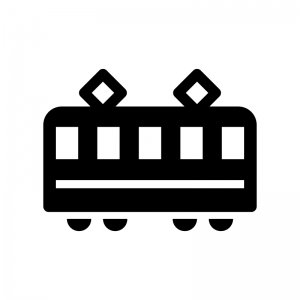 電車の白黒シルエットイラスト06