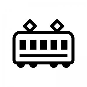 電車の白黒シルエットイラスト07