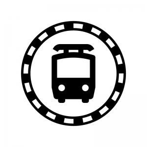 線路と電車の白黒シルエットイラスト02