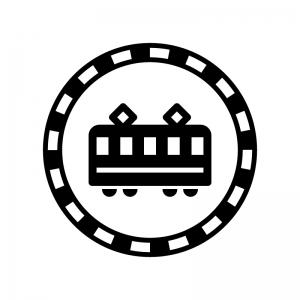 線路と電車の白黒シルエットイラスト03