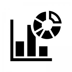 複合グラフの白黒シルエットイラスト
