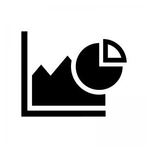 複合グラフの白黒シルエットイラスト02
