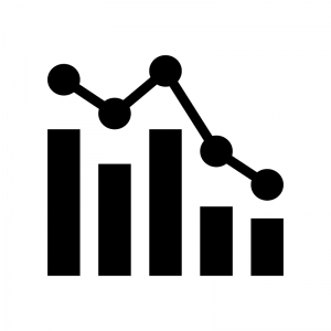 複合グラフの白黒シルエットイラスト03