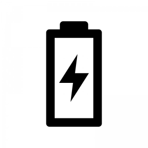 電池・バッテリー充電中の白黒シルエットイラスト