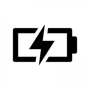 電池・バッテリー充電中の白黒シルエットイラスト02