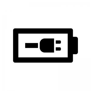 電池・バッテリー充電中の白黒シルエットイラスト03