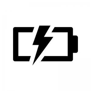 電池・バッテリー充電中の白黒シルエットイラスト04