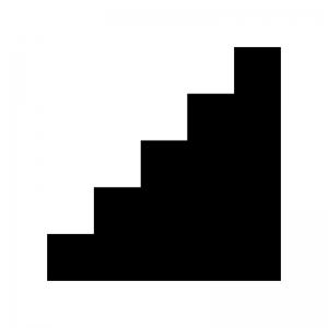階段の白黒シルエットイラスト